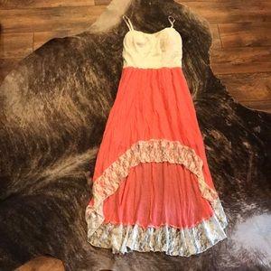 Lily Rose Hi-Lo Coral & Cream Lace Dress sz Large